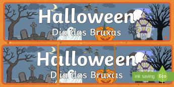 Halloween Display Banner English/Portuguese - Halloween, pumpkin, display, banner, poster, sign, EAL