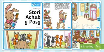 Saving Easter Story Welsh - Children\'s Books, Pasg, stori, Easter, bwni, llwynog, wyau Pasg, helpu, ieir, llwynog, darllen, Welsh