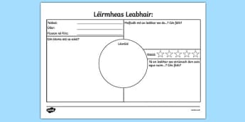 Léirmheas Leabhair Book Review Worksheet Gaeilge - irish, gaeilge, book review, book review sheet, writing a book review, book review template, book review writing frame, ks2 literacy, reading