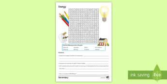 Energy Word Search - radiation, conduction, convection, insulation, efficiency