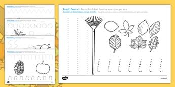 Autumn-Themed Pencil Control Activity Sheets Polish Translation-Polish-translation, worksheet