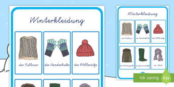 Winterkleidung Wortschatz Poster für die Klassenraumgestaltung - Winterkleidung Wortschatz Poster für die Klassenraumgestaltung, Winterkleidung, Winter Wortschatz,