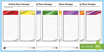 Writing Phone Messages Activity Sheet - creative writing,Irish, memo, note, Worksheet