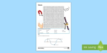 Waves Word Search - electromagnetic, refraction, transverse, frequency, satellites