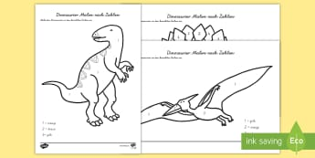 Dinosaurier Malen nach Zahlen - Dinosaurs Colour by Number - dinosaurs, colour, number, activity, dinosuar, dinsaur, dinosour, dinos