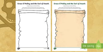 Grace O'Malley and the Earl of Howth Letter Writing Activity Sheet-Irish - Requests - ROI, Grace O'Malley, Gráinne Mhaol, Pirate Queen, Earl of Howth, Howth Castle, Ireland,