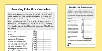 Recording Pulse Rates Worksheet - pulse rate, pulse rates worksheet, circulation, exercise, how pulse rates are effected, the human body, ks2 science
