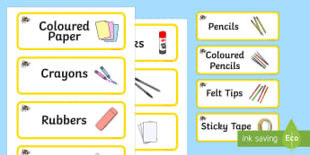 Bee Themed Editable Creative Area Resource Labels - Themed creative resource labels, Label template, Resource Label, Name Labels, Editable Labels, Drawer Labels, KS1 Labels, Foundation Labels, Foundation Stage Labels