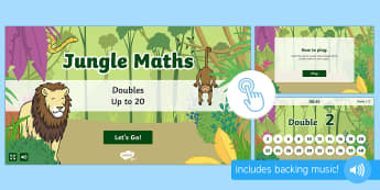 Jungle Maths: Doubles up to 20 Game, Twinkl Go, twinkl go, TwinklGo, twinklgo