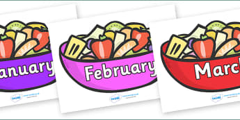 Months of the Year on Fruit Salad - Months of the Year, Months poster, Months display, display, poster, frieze, Months, month, January, February, March, April, May, June, July, August, September