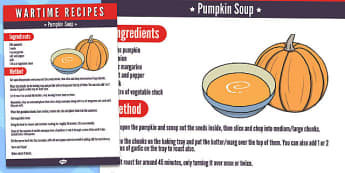 Wartime Pumpkin Soup Recipe - wartime, recipe, pumpkin soup