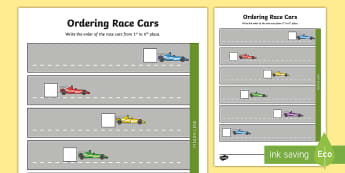 Ordering Race Cars Activity Sheet - Australian Sporting Events Maths, foundation, number and algebra, number and place value, ACMNA001,