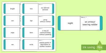 Homophones Question Matching Cards  - Homophones Question Matching Cards - homophones, question, matching, cards, homonophones year 4, hom