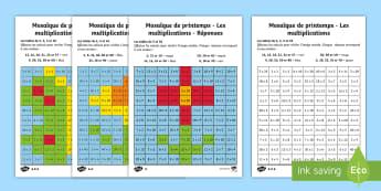 Feuilles d'activités différenciées : Mosaiques de printemps - Les multiplications - Multiplications, mathématiques, maths, calculs, nombre, numbers, tables, times tables, cycle 2, cyc