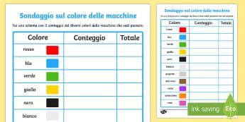 Sondaggio sul Colore delle Macchine Attività - sondaggio, colore, delle, macchine, colori, italiano, italian, materiale, scolastico
