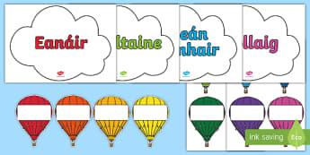 Editable Hot Air Balloon Birthday Display - roi, republic of ireland, gaeilge, birthday, birthday display, editable birthday display, classroom display, classroom management, hot air balloon