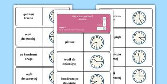 Domino Podawanie czasu - domino, klocki, zabawa, karcianka, karciana, karty, czas, godzina, podawanie, czasu, godziny, która