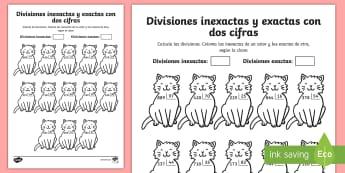 Ficha de actividad: Colorear por divisiones inexactas y exactas con dos cifras - gatos - dividir, división, repartir, cifras, divide, division, sharing, figures, digits, escrito, escrita,