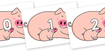 Numbers 0-50 on Hullabaloo Pigs to Support Teaching on Farmyard Hullabaloo - 0-50, foundation stage numeracy, Number recognition, Number flashcards, counting, number frieze, Display numbers, number posters