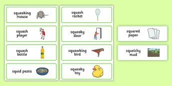 Three Syllable SQU Word Cards - speech sounds, phonology, articulation, speech therapy, cluster reduction, complex clusters, three element clusters