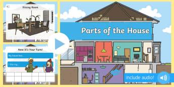 Părțile casei în limba engleză PowerPoint  - vocabular în engleză,  comunicare în engleză, pronunție în engleză, activități de comunicar