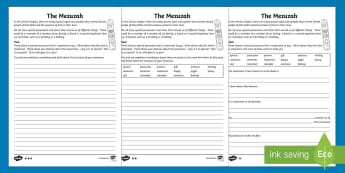 The Mezuzah Differentiated Writing Activity Sheet - KS2, Mezuzah, Judaism, RE, writing, English, special, posessions, jewish., tradition, door,