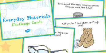 Everyday Materials Challenge Cards - everyday, materials, challenge cards