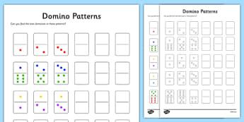 Domino Patterns Activity Sheet, worksheet