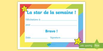 Certificat de récompense : La star de la semaine - récompense, prix, attestation,félicitations, bravo, cycle 1, cycle 2, award,French