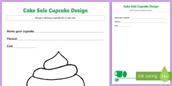 Cake Sale Cupcake Design Activity Sheet, worksheet