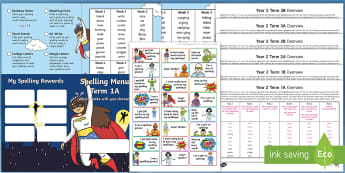 Year 2 Superhero-Themed Spelling Menu Pack - Spag, Weekly, Lists, Gps, Home Learning