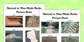 Natural or Man Made Rocks Picture Sheet - natural, man made, rocks