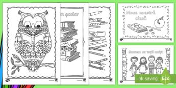 Din nou la școala Pagini de colorat mindfulness - septembrie, arte, relaxare. activități, septembrie, revenirea la școală,Romanian