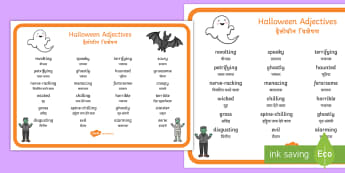 Halloween Adjectives Word Mat English/Hindi  - october, festival, autumn, celebration, spooky, adjectives, describing, creative, writing, stories,