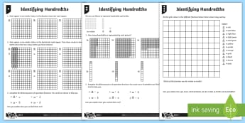 Identifying Hundredths Differentiated Activity Sheets - hundredths, fractions, fraction, tenths, equal pieces, ount up and down in hundredths; recognise tha