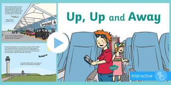 Exploring My World - Up, Up and Away! Story PowerPoint - airport, aistear, holiday, travel, plane, flight, story,Irish