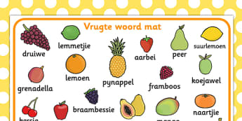 Afrikaans Vrugte Woordmat - vrugte, woordeskat, woordmat
