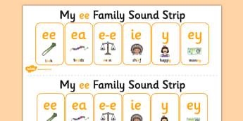 My EE Sound Family Strip - Sound family, EE, alternate spellings, alternate spellings for phonemes, family, sounds, phoneme, phonemes