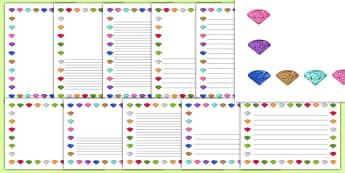 Little Gem Class Page Borders Pack -  gem, stones, precious, class, labels, signs, name, eyfs, ks1, ks2