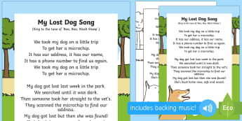 My Lost Dog Song - EYFS Pets, Animals, National Pet Month, dog, vets, microchip, lost, found