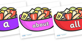 100 High Frequency Words on Fruit Salad - High frequency words, hfw, DfES Letters and Sounds, Letters and Sounds, display words