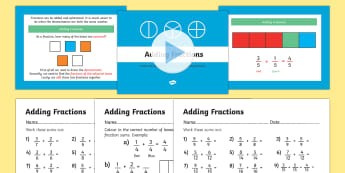 Adding Fractions PowerPoint and Worksheets - year 3, year three, fractions, powerpoint, fractions powerpoint, worksheets, fractions worksheets, math