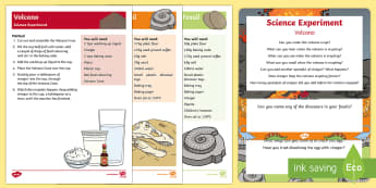 EYFS Dinosaurs Science Experiments Resource Pack - Dinosaurs, fizzing, fossil, volcano, experiment, eruption, paleontologist, paleontology