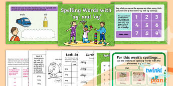 PlanIt Y1 Term 1B W2: 'ay' and 'oy' Spelling Pack
