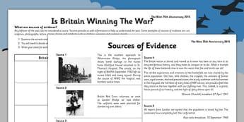 The Blitz Using Evidence - the blitz, using, evidence, world war two
