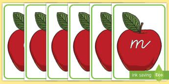 Phoneme auf Äpfeln Poster für die Klassenraumgestaltung - Phoneme auf Äpfeln, Phonem, Phoneme, Literatur, Buchstaben und Sprache, Rote Darstellung, Apfel Dar