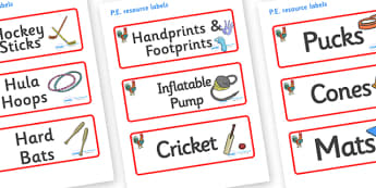Rooster Themed Editable PE Resource Labels - Themed PE label, PE equipment, PE, physical education, PE cupboard, PE, physical development, quoits, cones, bats, balls, Resource Label, Editable Labels, KS1 Labels, Foundation Labels, Foundation Stage La