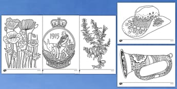 Anzac Day Mindfulness Colouring Sheets - anzac day, colouring
