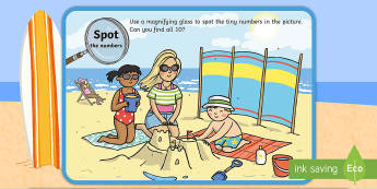 Numbers 0-10 Beach Scene Magnifying Glass Activity Sheet - phonics, letters and sounds, phase 5, e-e sound, magnifier, magnifying glass, find, activity, group,