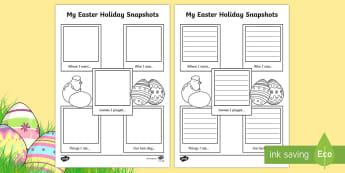 Easter Holiday Snapshots Writing Frame - ESL Holiday Writing
